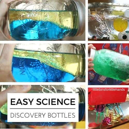 Easy science discovery bottles for early childhood learning activities.