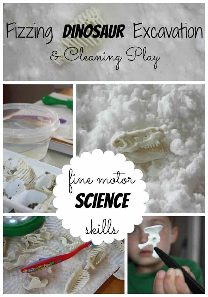 Dinosaur Excavation Activity: Fizzy Science And Sensory Play While Working On Fine Motor Skills {Fine Motor Friday}