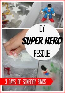 Icy Super Hero Rescue Sensory Sink Activity