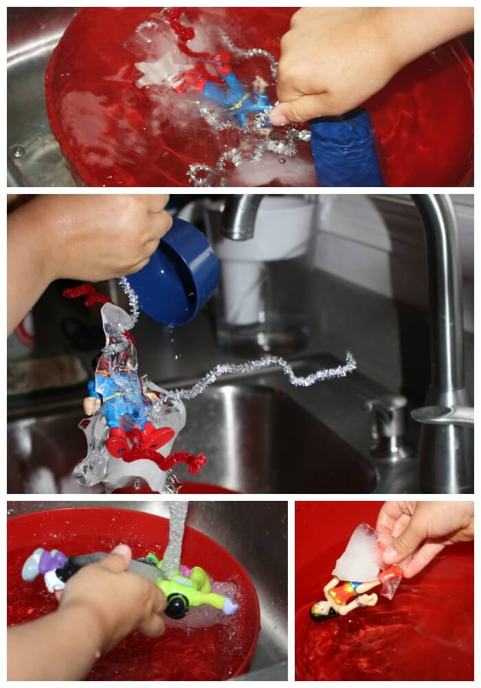 Icy Super Hero Sensory Sink Final Rescue