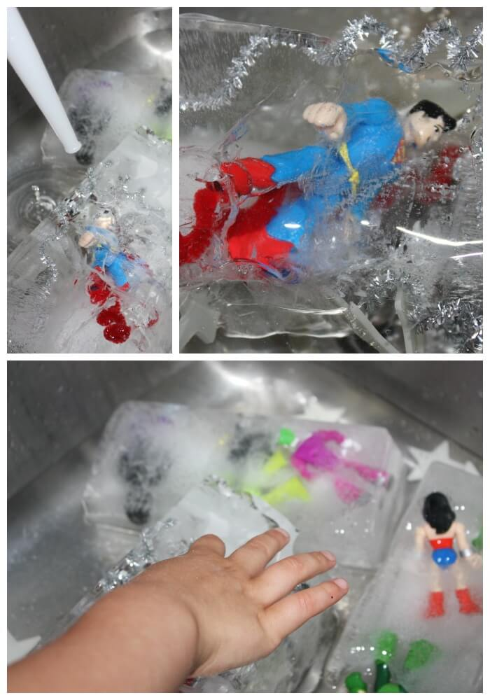 Icy Super Hero Sensory Sink Play