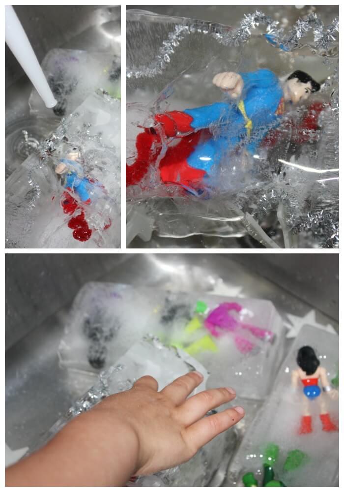 Icy Super Hero Sensory Sink Play