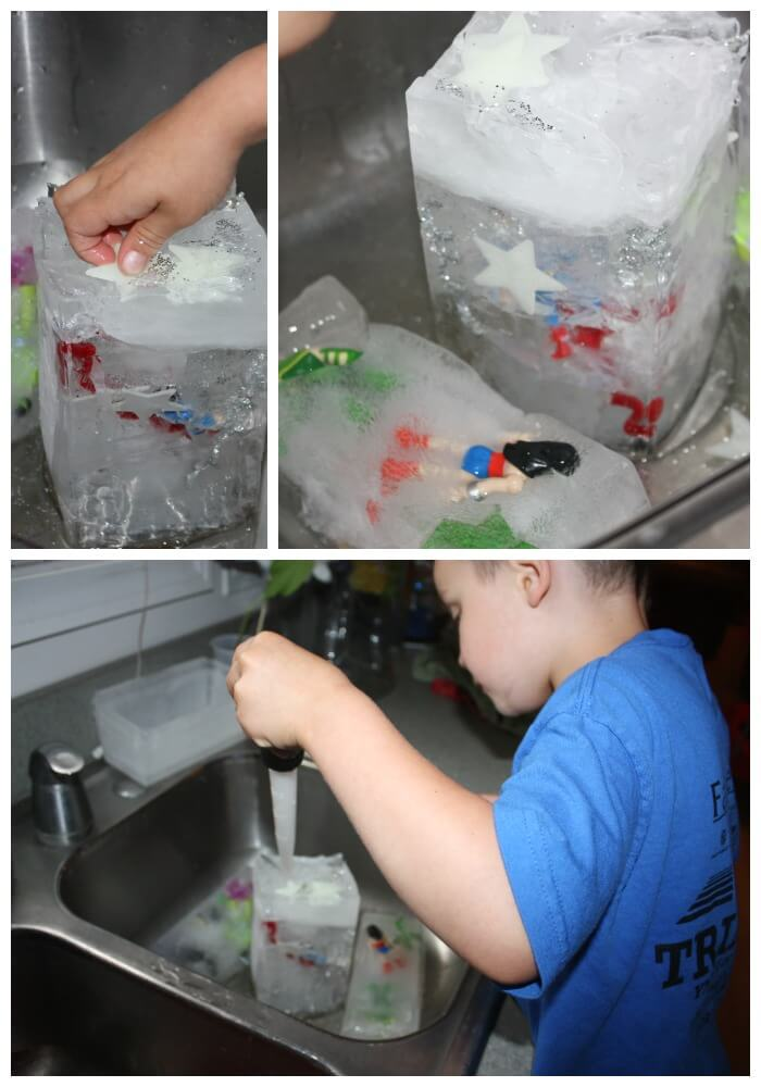 Icy super hero rescue sensory sink getting started