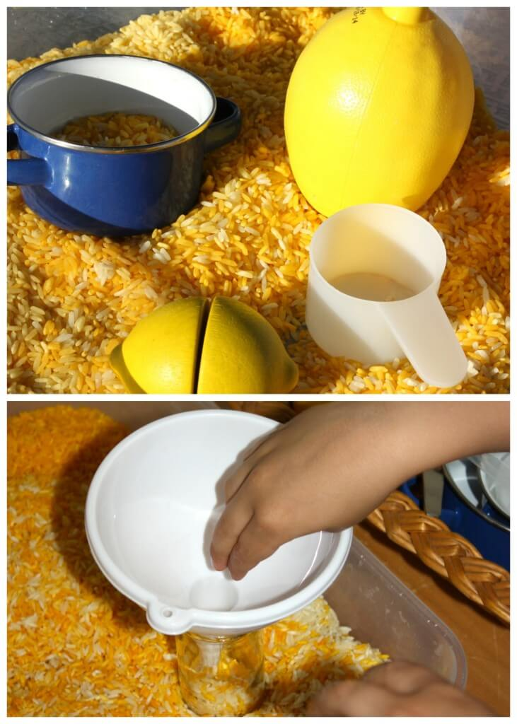 Lemon Scented Rice Sensory bin Olfactory sensory play