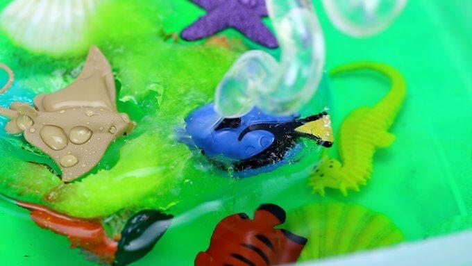 melted ice sensory bin