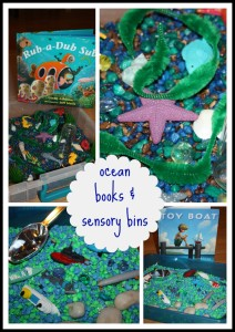 Ocean book sensory bins to go