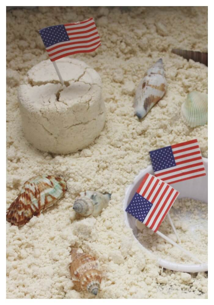 Red White Blue Summer Sensory Sink Cloud Dough Sand