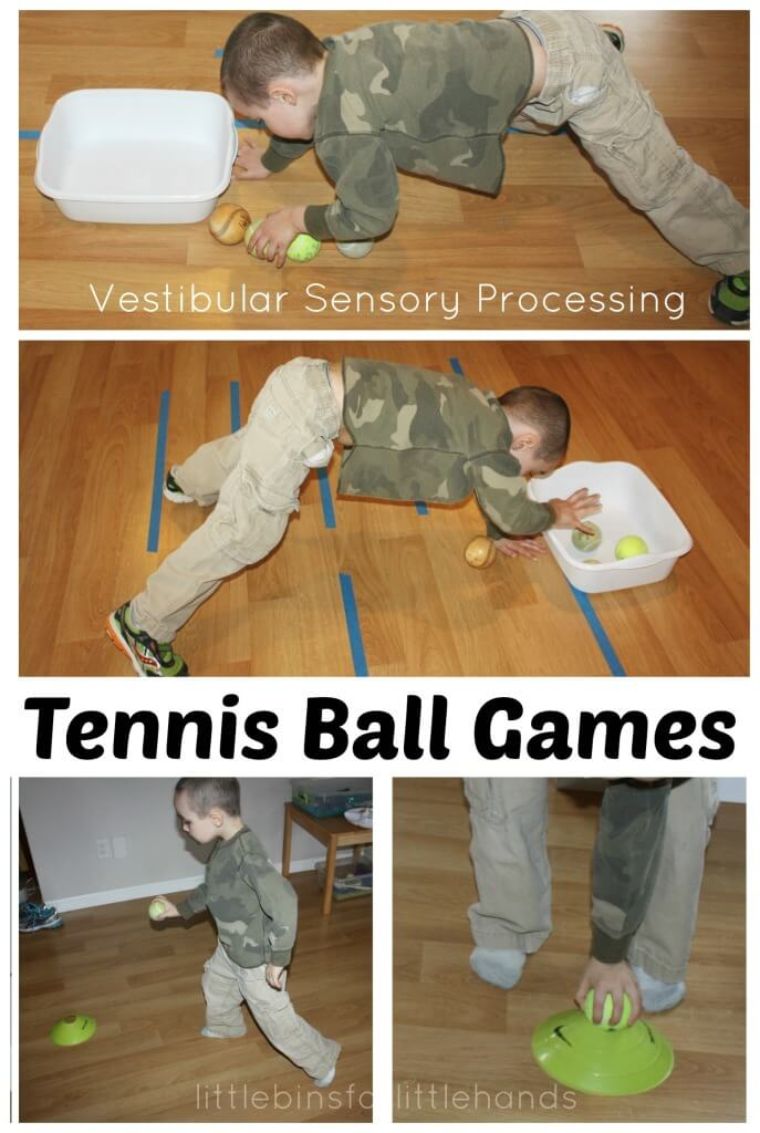 Tennis Ball Games Vestibular Sensory processing Gross Motor Activities