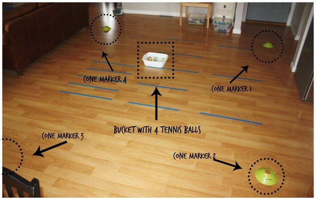 Tennis ball game set up