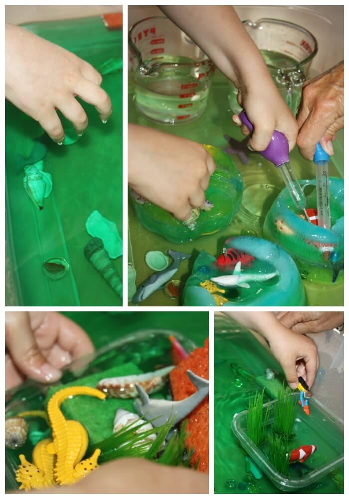 icy ocean sensory bin play