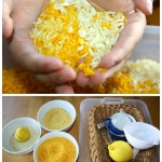 lemon scented rice sensory bin set up