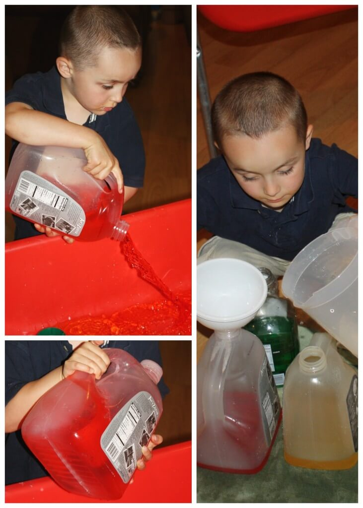proprioceptive sensory play color mixing big container play