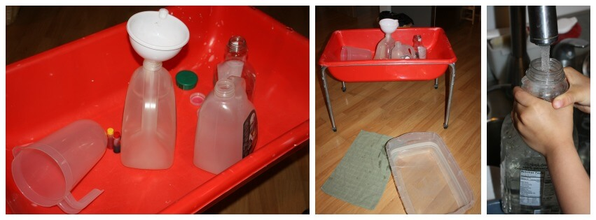 proprioceptive sensory play color mixing set up