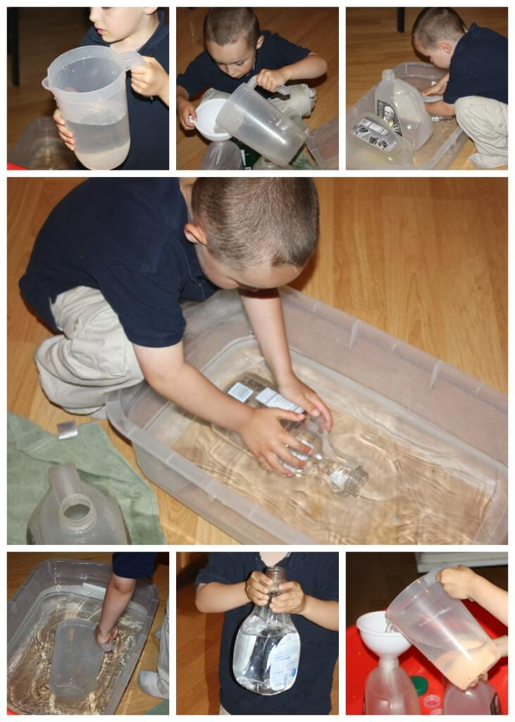 proprioceptive sensory play water filling and dumping