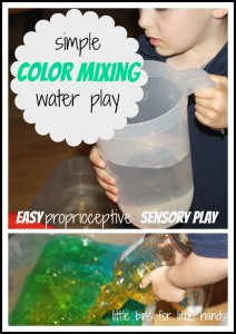 proprioceptive sensory play with color mixing water play