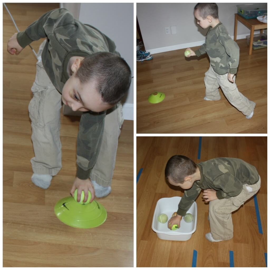 tennis ball game vestibular sensory play