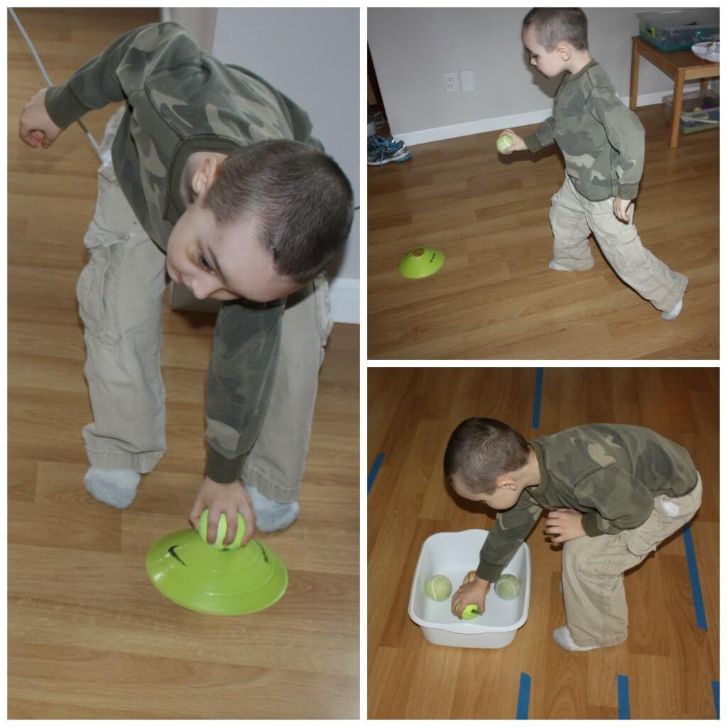 tennis ball game vestibular sensory play