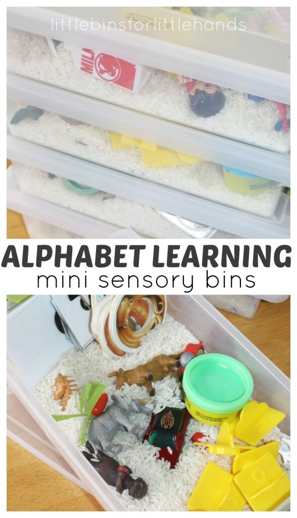 Mini Alphabet Sensory Bins Early Learning Alphabet Activity