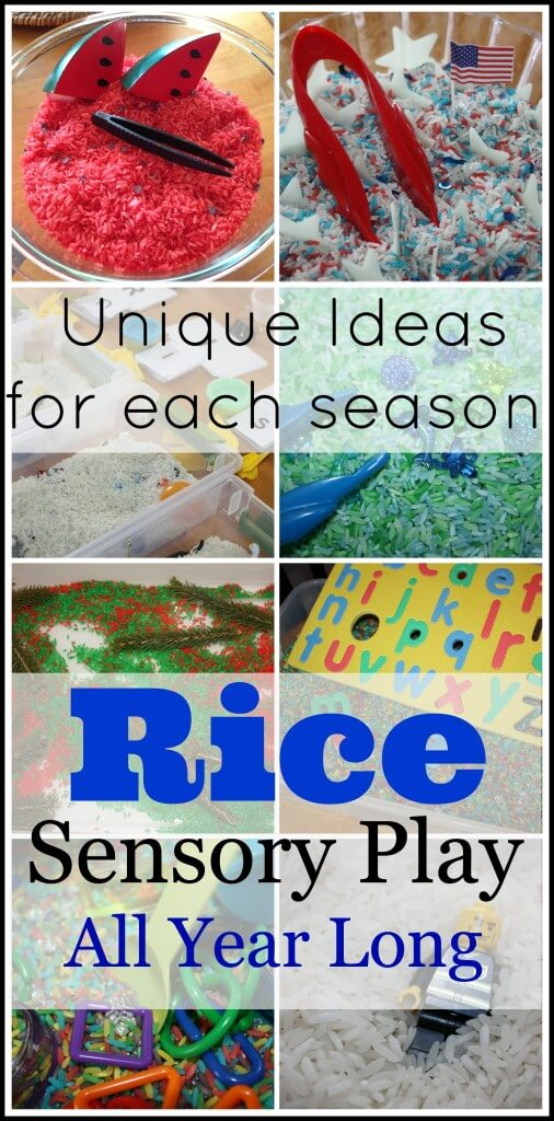 Rice Sensory Bins All Year Long