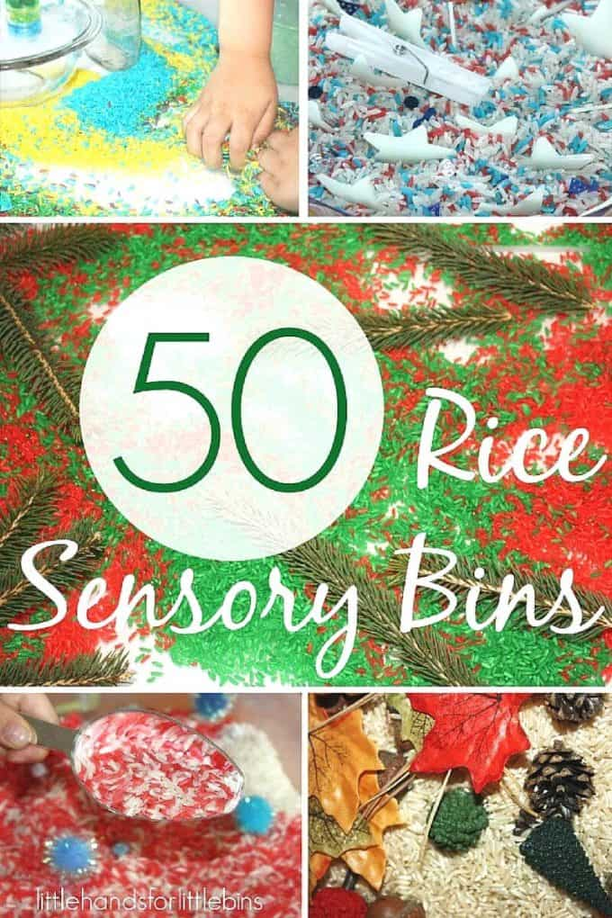Rice Sensory Bins for
