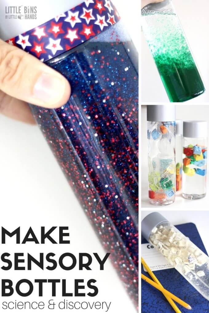 How to make sensory bottles and discovery bottles for kids for science and sensory processing