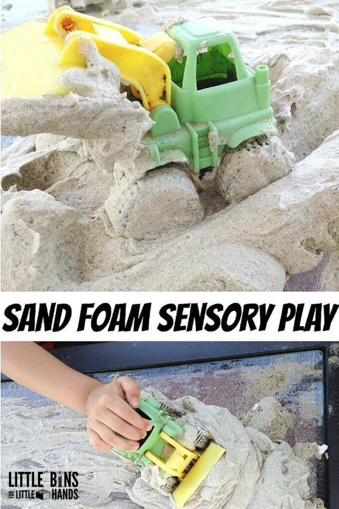 Sand foam sensory play 2 ingredient recipe for kids to make