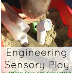 engineering play with sand and pipes sensory play