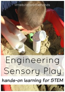 engineering play with sand and pipes sensory play STEM activity