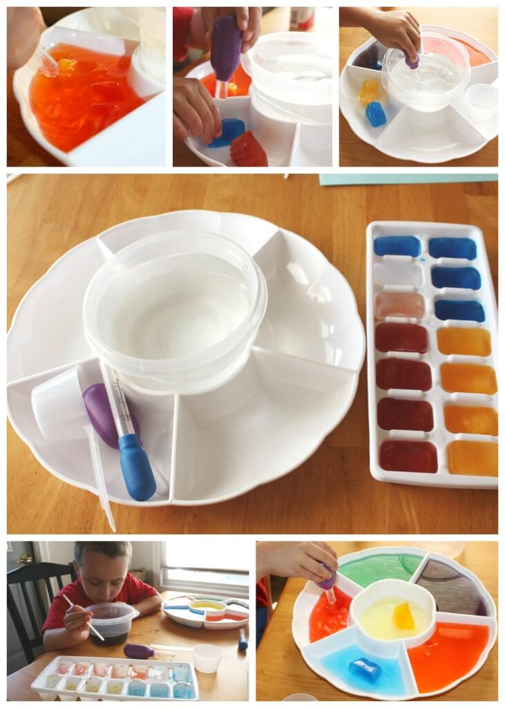 frozen color mixing science play with eye droppers