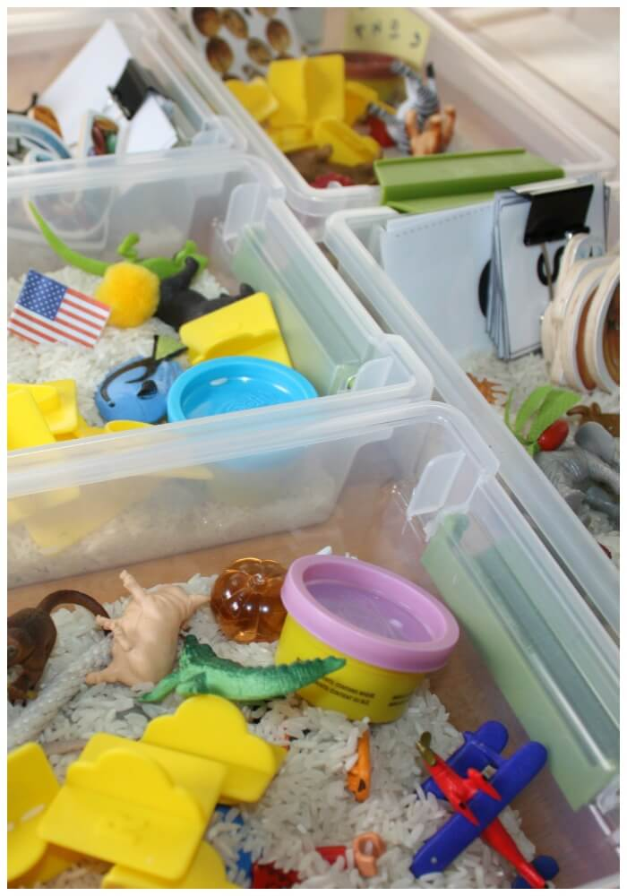 mini alphabet sensory bins close up of all boxes