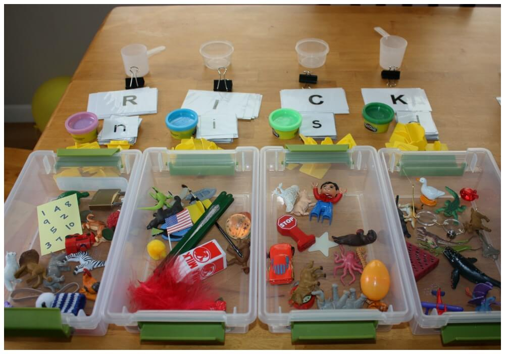 mini alphabet sensory bins contents of boxes