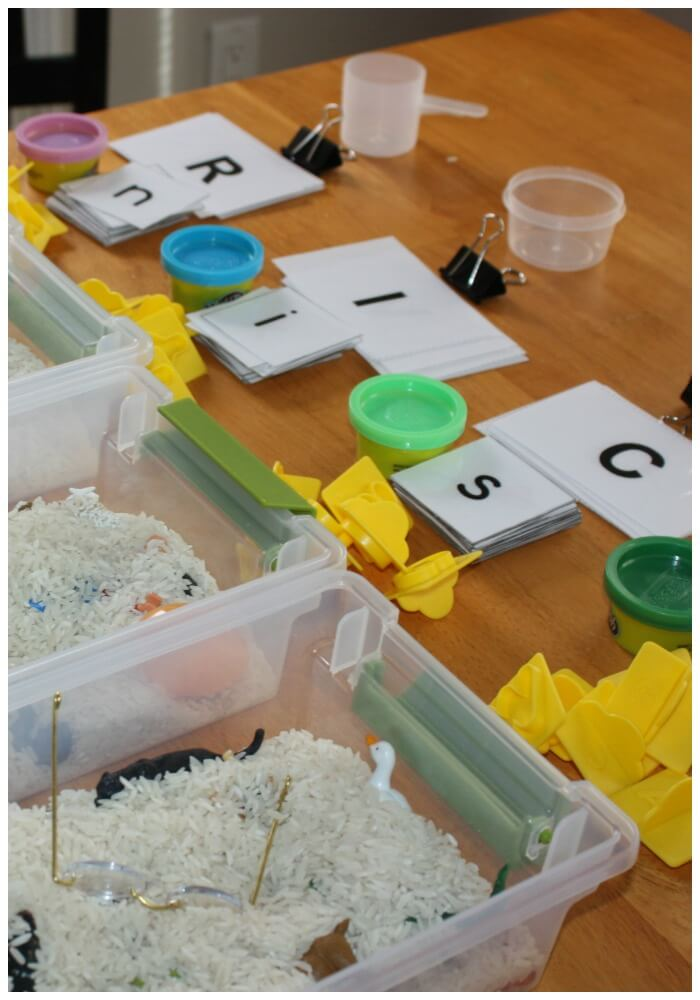 mini sensory bins side shot of play dough and letters