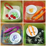 portable mini sensory bins fine motor skills set of four opened up
