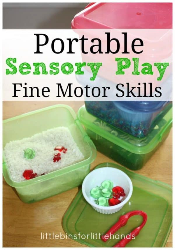 portable mini sensory bins for fine motor skills activities