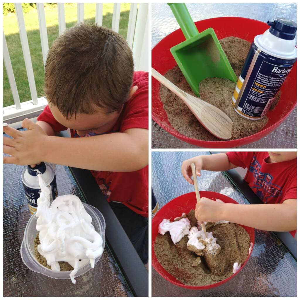 sand foam sensory play set up and beginning to mix activity