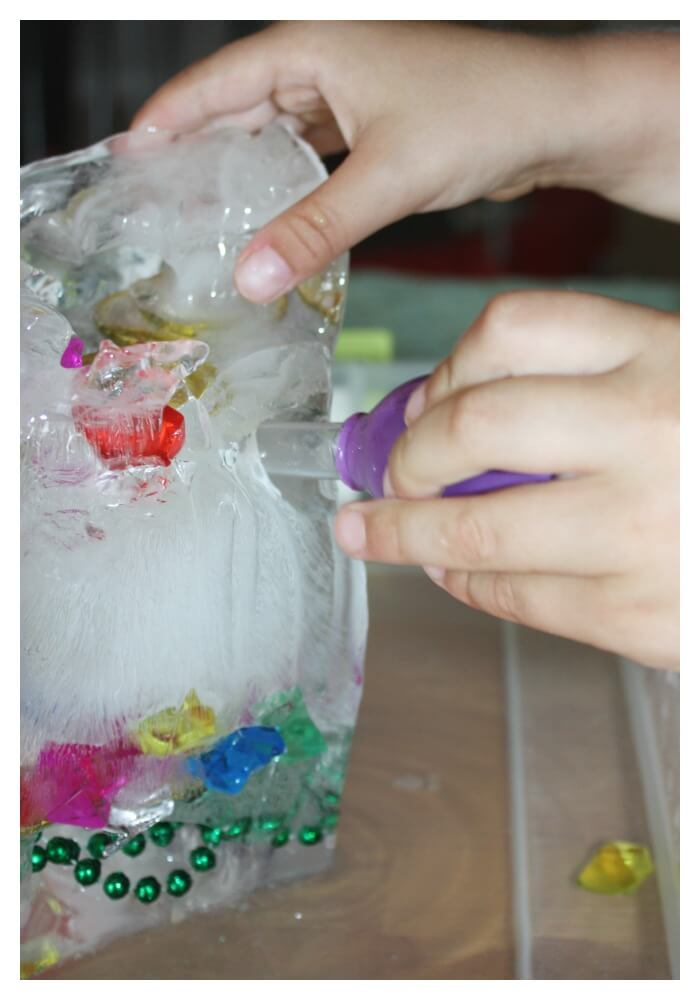 treasure hunt fine motor skills ice melt science eye dropper hole making