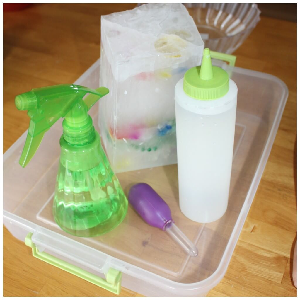 treasure hunt fine motor skills ice melt science set up