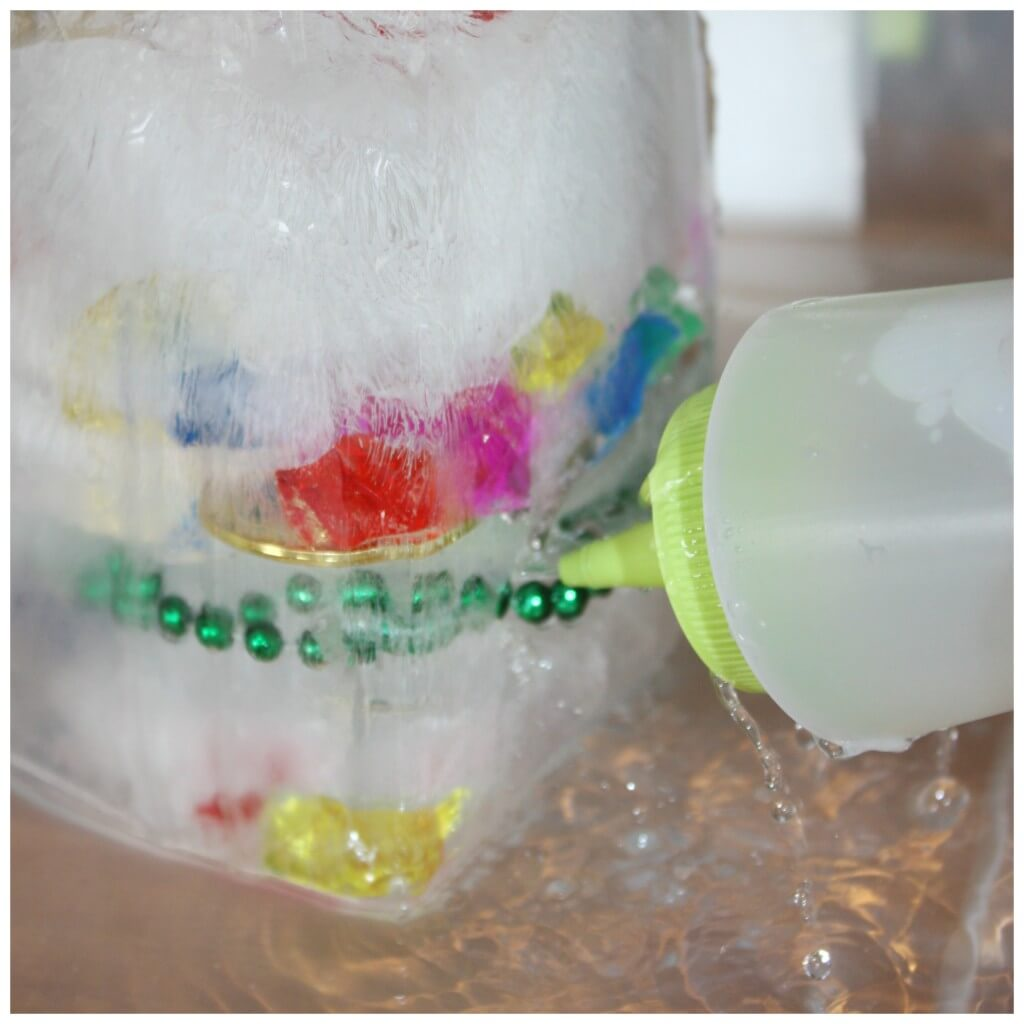 treasure hunt fine motor skills ice melt science squeeze bottle bottom