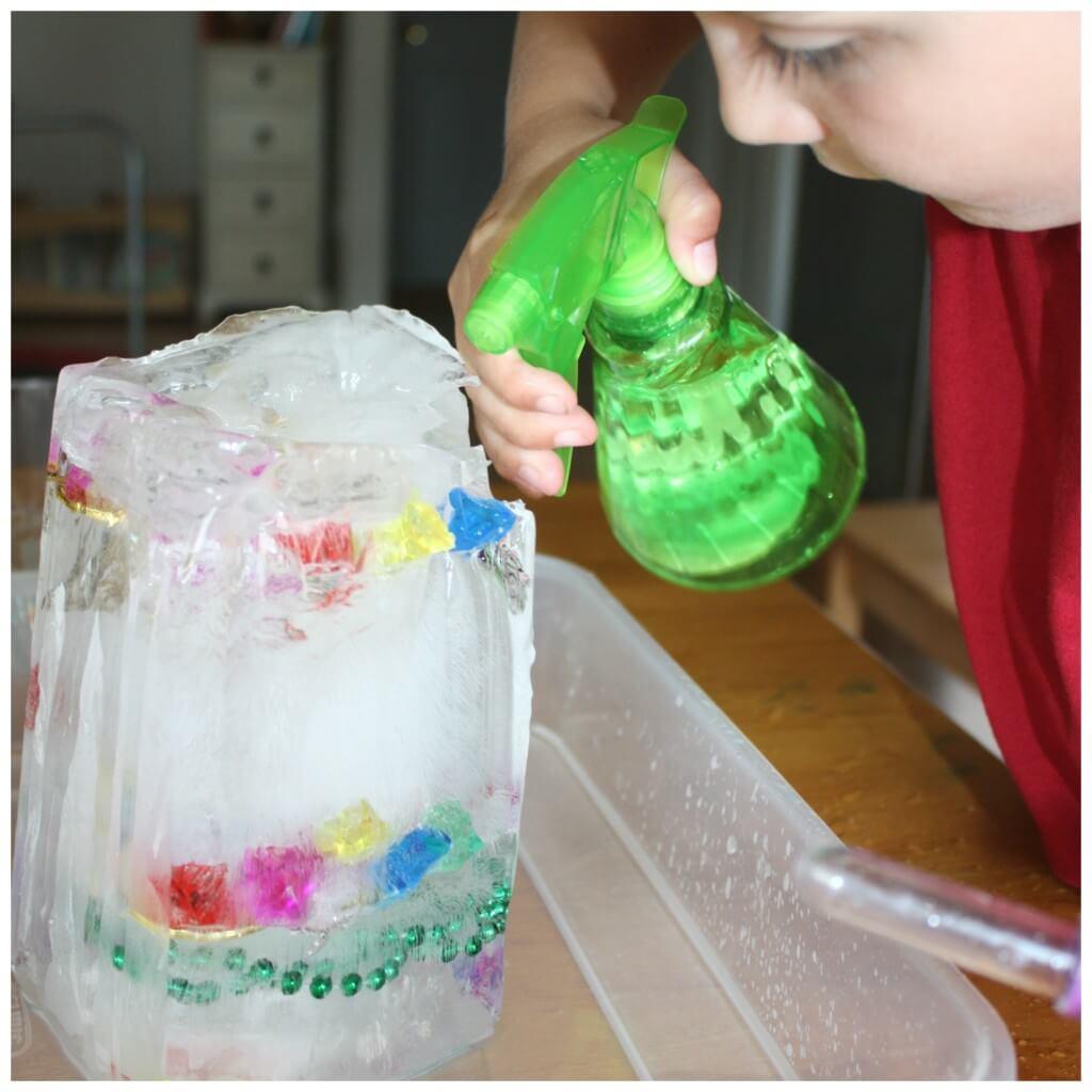 treasure hunt fine motor skills ice melt science squirt bottle