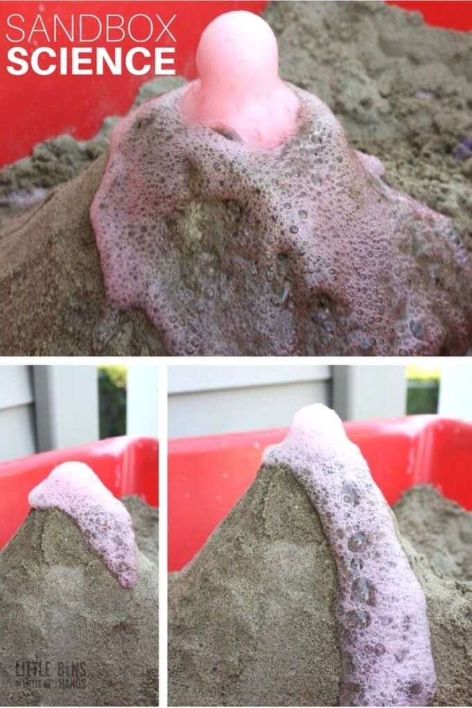 Make a sandbox volcano for a quick chemistry activity. Explore baking soda and vinegar science with a volcano in the sand box!