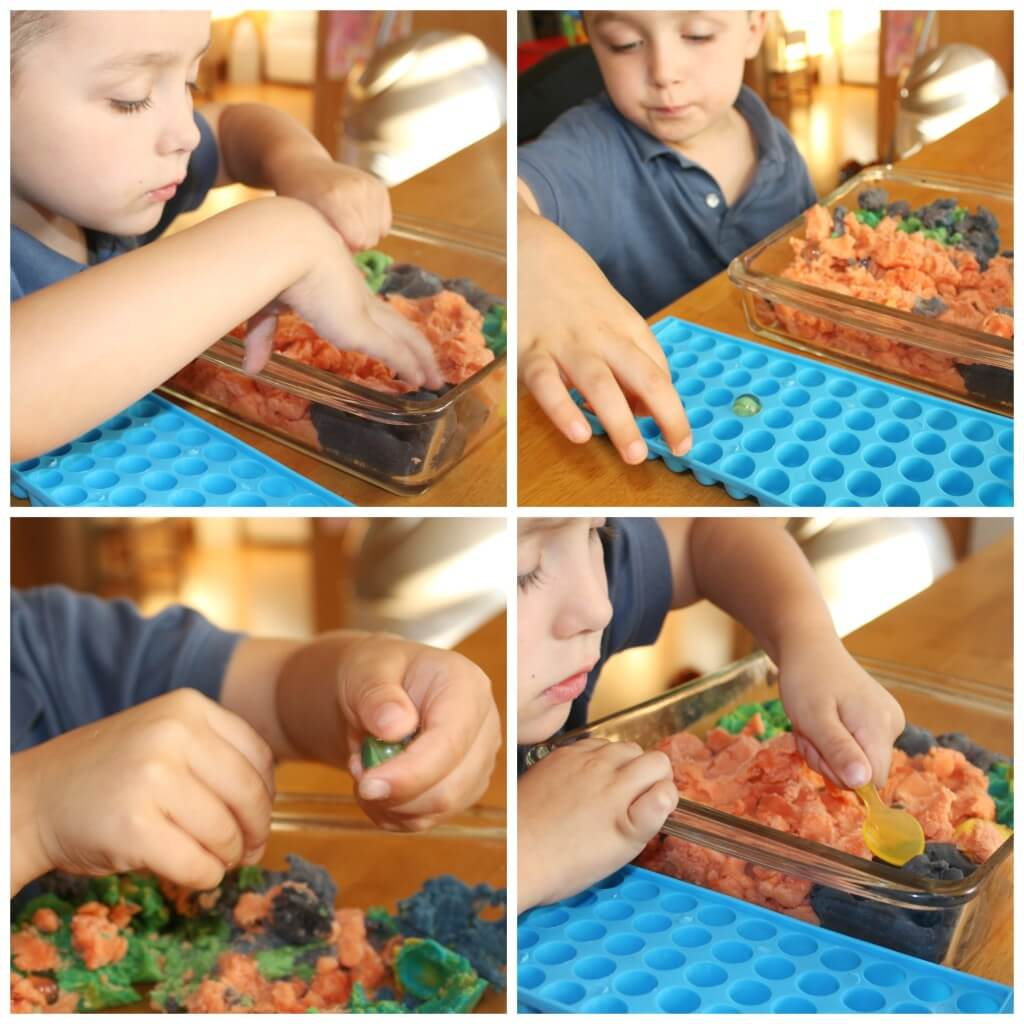 3 quick fine motor activities marbles and play dough