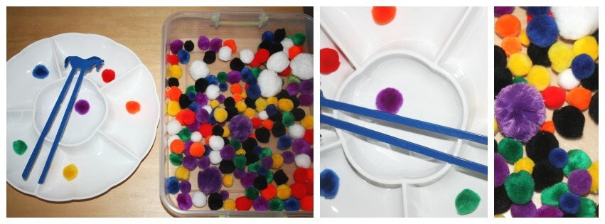 3 quick fine motor activities pompom sorting colors
