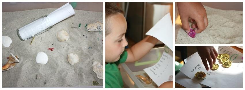 5 treasure hunts sensory play sand bin