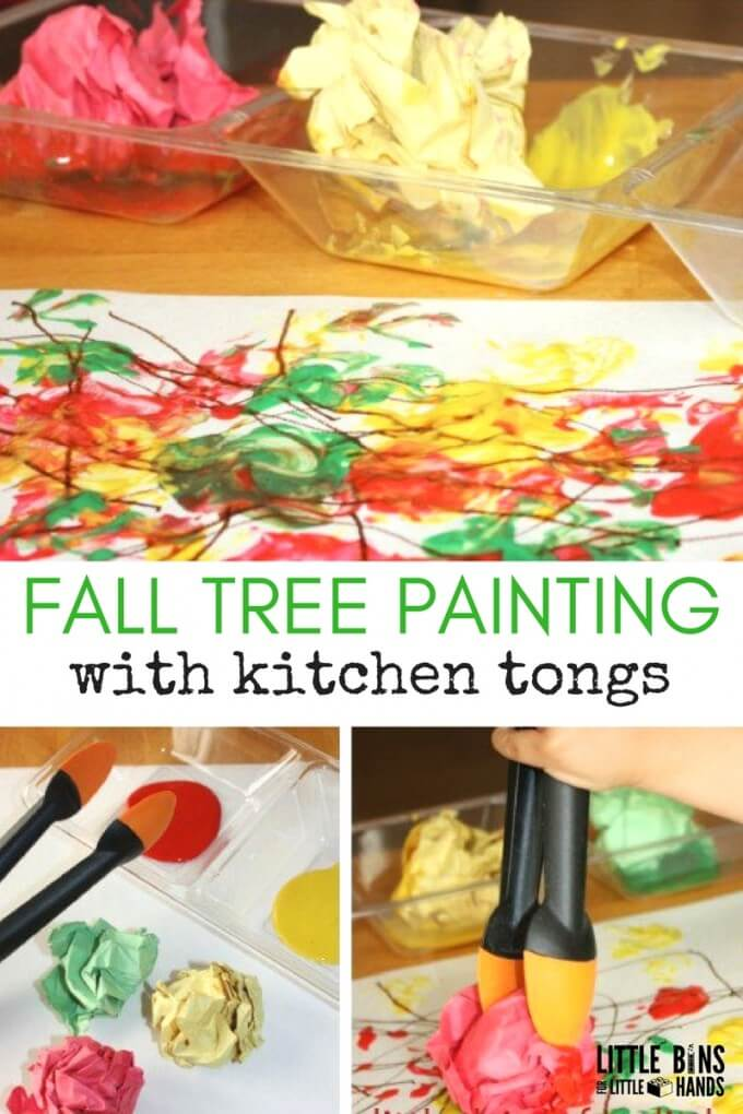 Fall painting activity create fall tree with kitchen tongs
