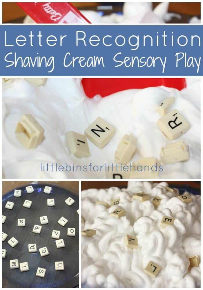 Letter Recognition Shaving Cream Sensory Play