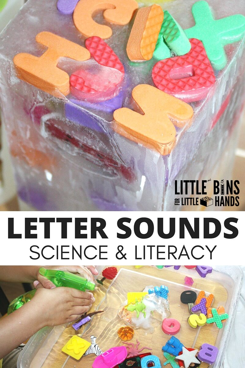activity letter science sensory literacy sounds play preschool activities experiment sound ice letters learning hands littlebinsforlittlehands preschoolers alphabet melt ciencias