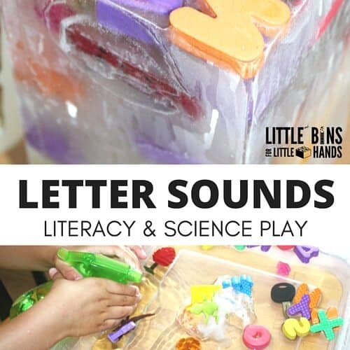 Letter sounds activity and preschool ice science experiment for kids