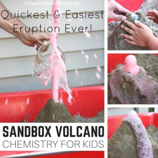 Build a sandbox volcano for baking soda science and chemistry! Sand box science for kids outdoor STEM activities.