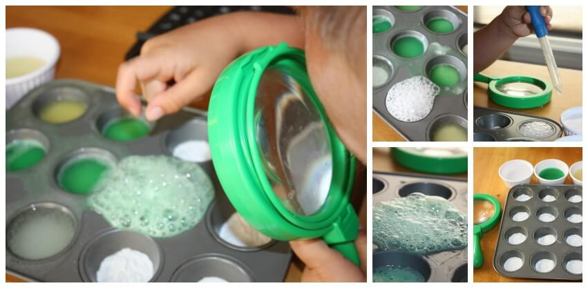 eruption chemistry science activity baking soda vinegar lemon and lime juice