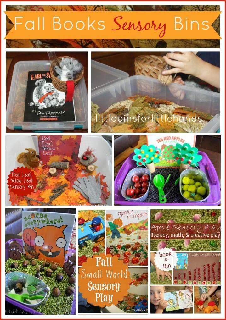 fall books sensory bins